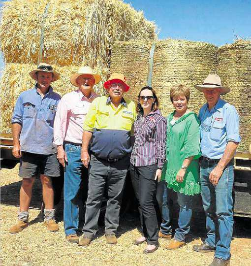 Steve Schmidt (Schmidt Grazing Industries, Charleville), with Philp Brodie Grain representative Jerry O'Sullivan, Brian Egan (Aussie Helpers), Andrea Brodie (PBA Feeds), Lisa Matthews (Philp Brodie Grain) and PBA Feeds logistics manager Philip Best at the Charleville showgrounds.